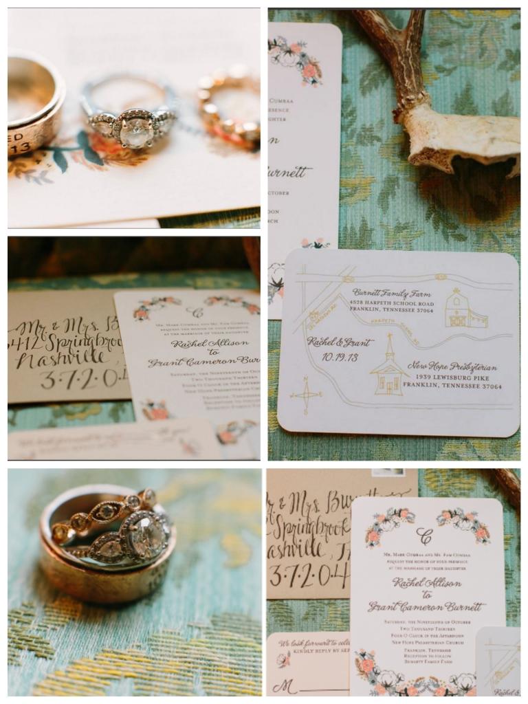 wedding stationery floral handdrawn map