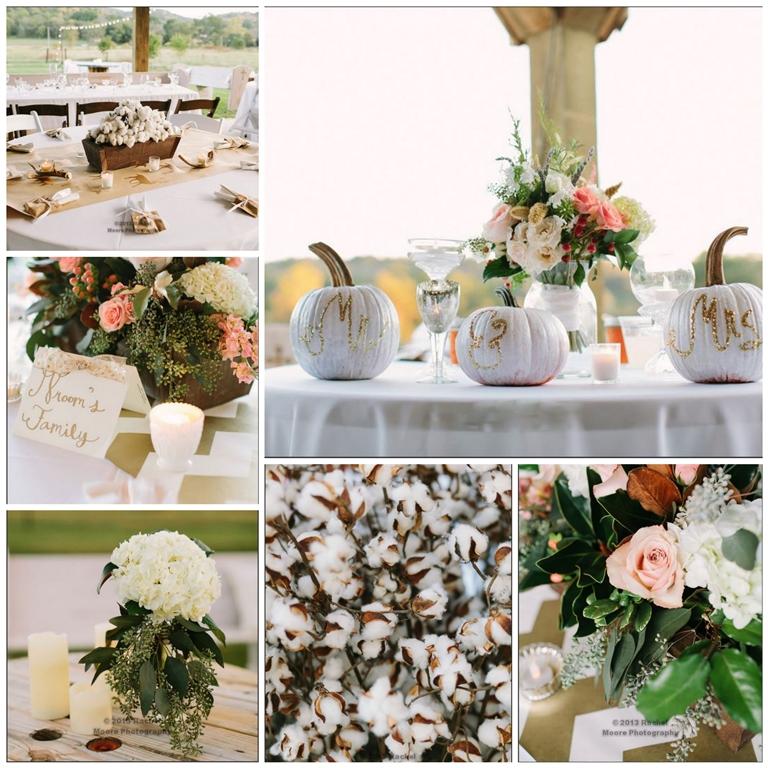 southern rustic wedding reception centerpiece cotton