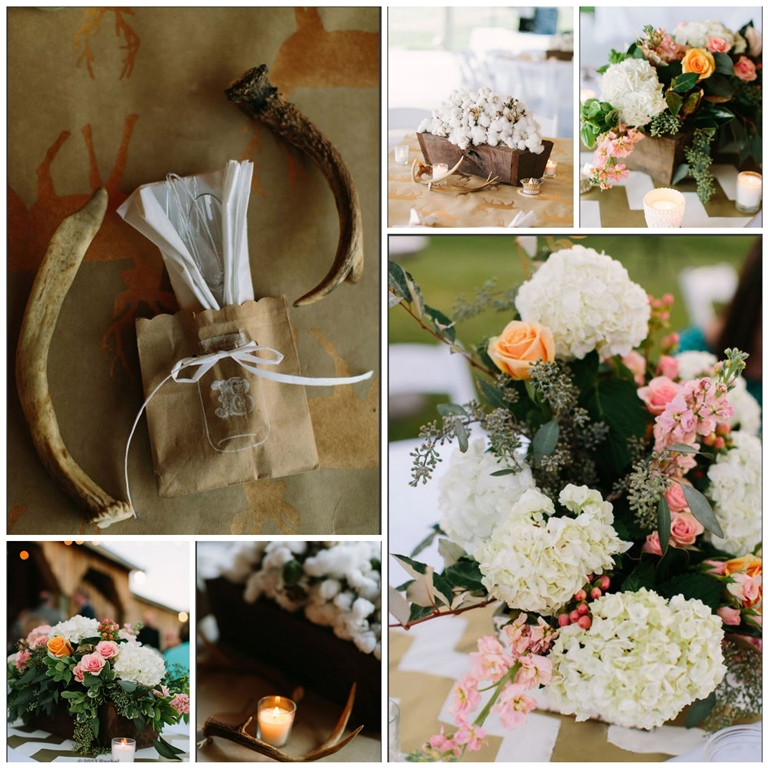 centerpieces with antlers lush flowers wooden boxes