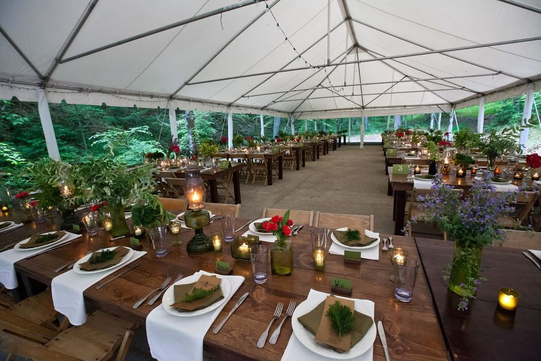 outdoor tented reception greenery flowers