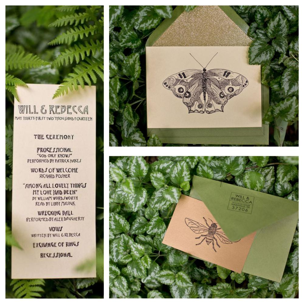 stationery butterfly greenery