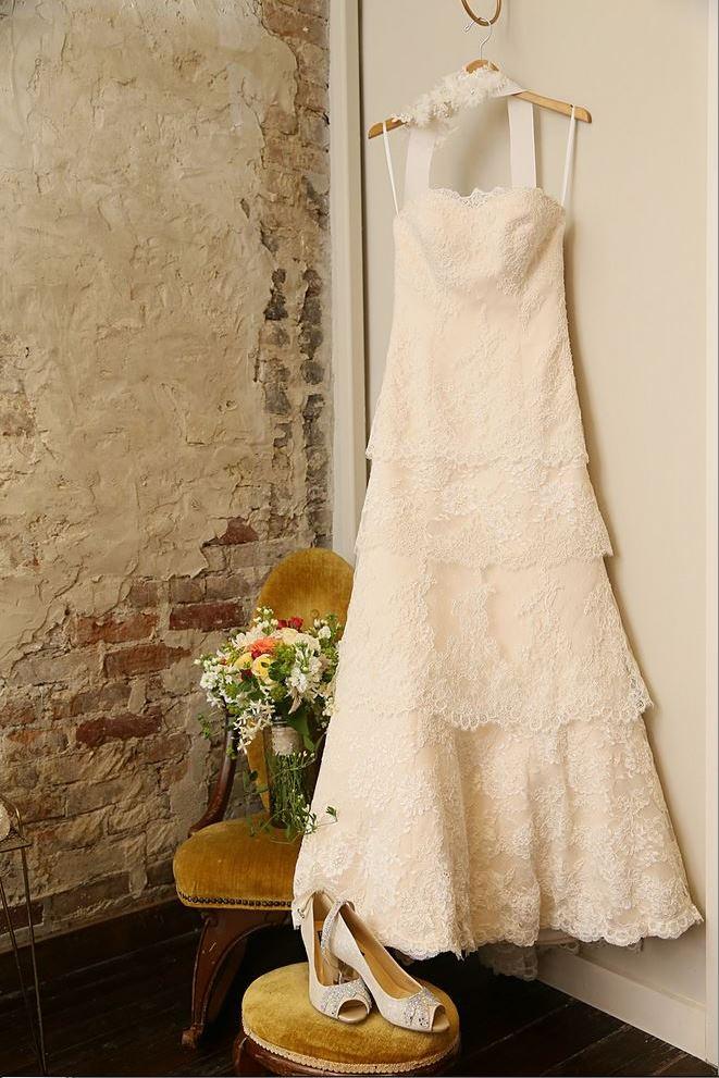 wedding dress bouquet shoes