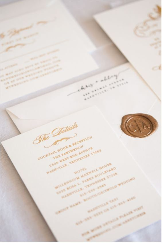 wedding invitation with gold seal