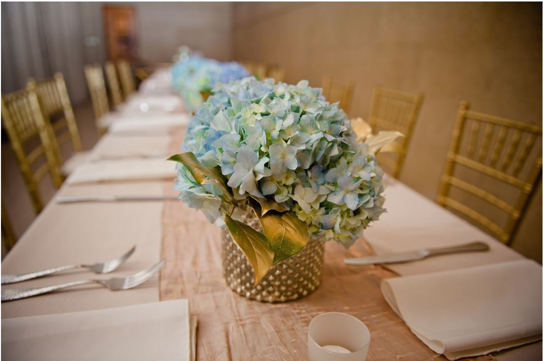 long reception table blue centerpiece