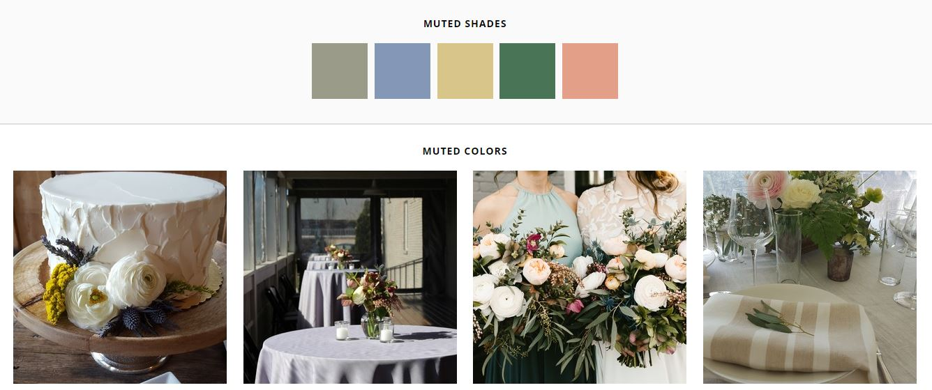 Creams, slate, moss, gray, and taupe are muted and soft for your wedding (Gavin Nutt Photography, Madi Flourney Photography, Justin Wright Photography)
