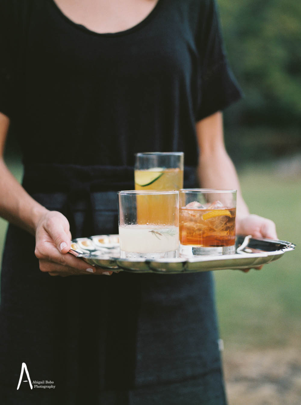 cocktails on a silver tray
