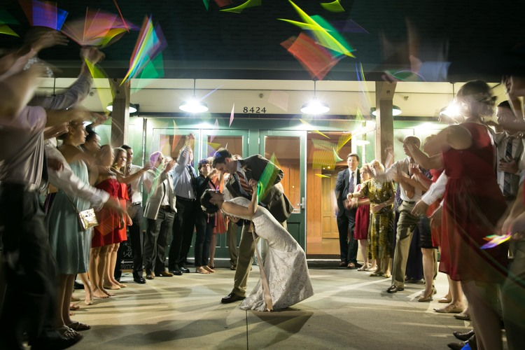 bride and groom exit glowsticks