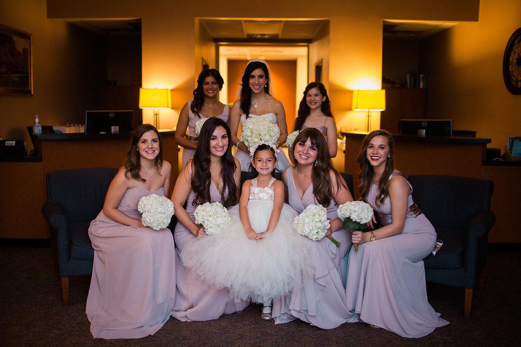 bride and bridesmaids flowergirl