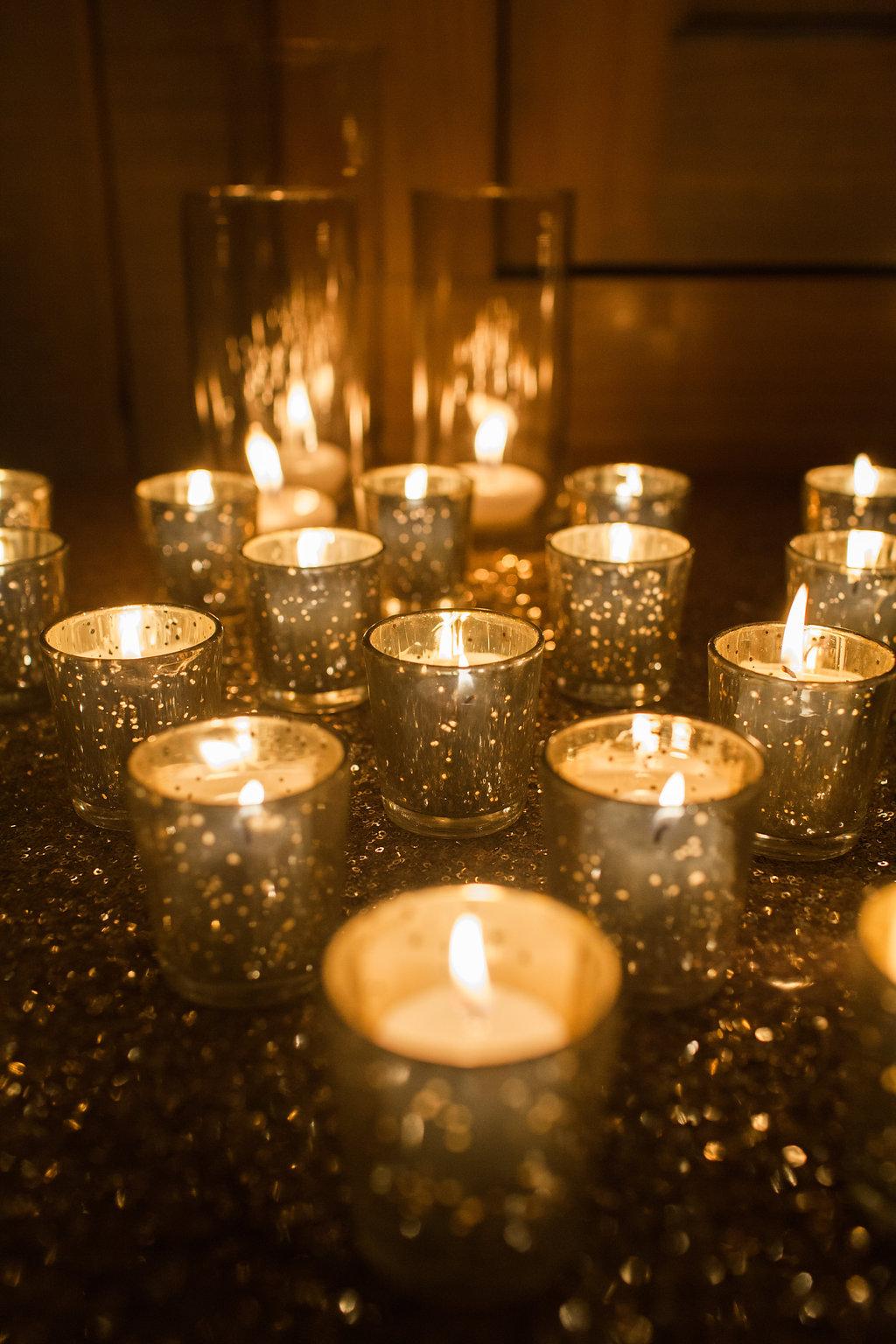 mercury gold votive candle holders reception