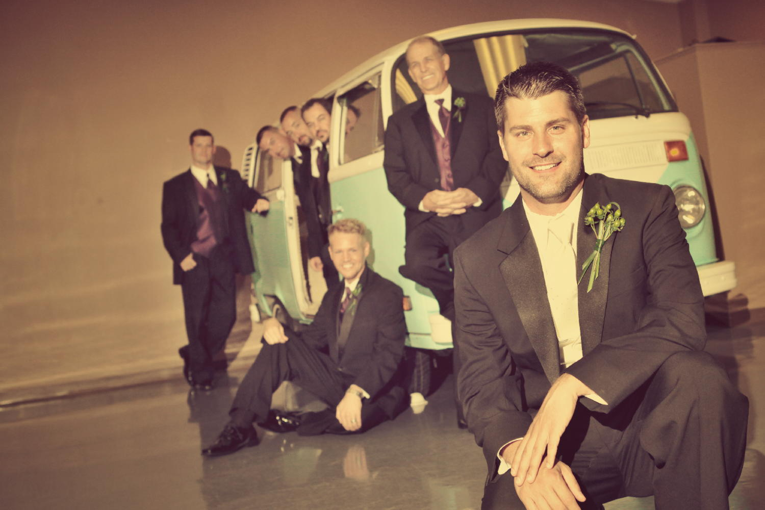 groom groomsmen vintage bus