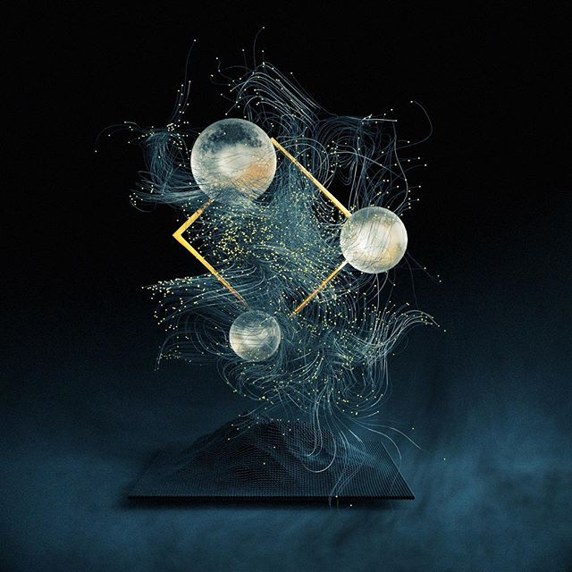 Quick and simple #x-particles squiggles and spheres and stuff. #c4d #cinema4d #octanerender
