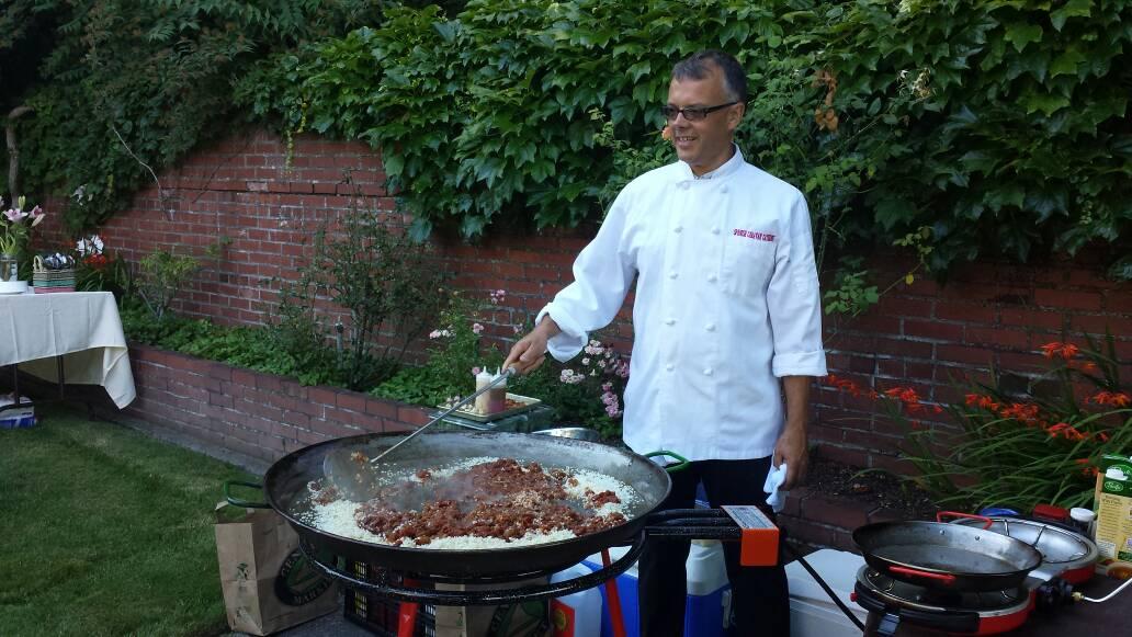 Chef Brian preparing the sofrito for the paella.