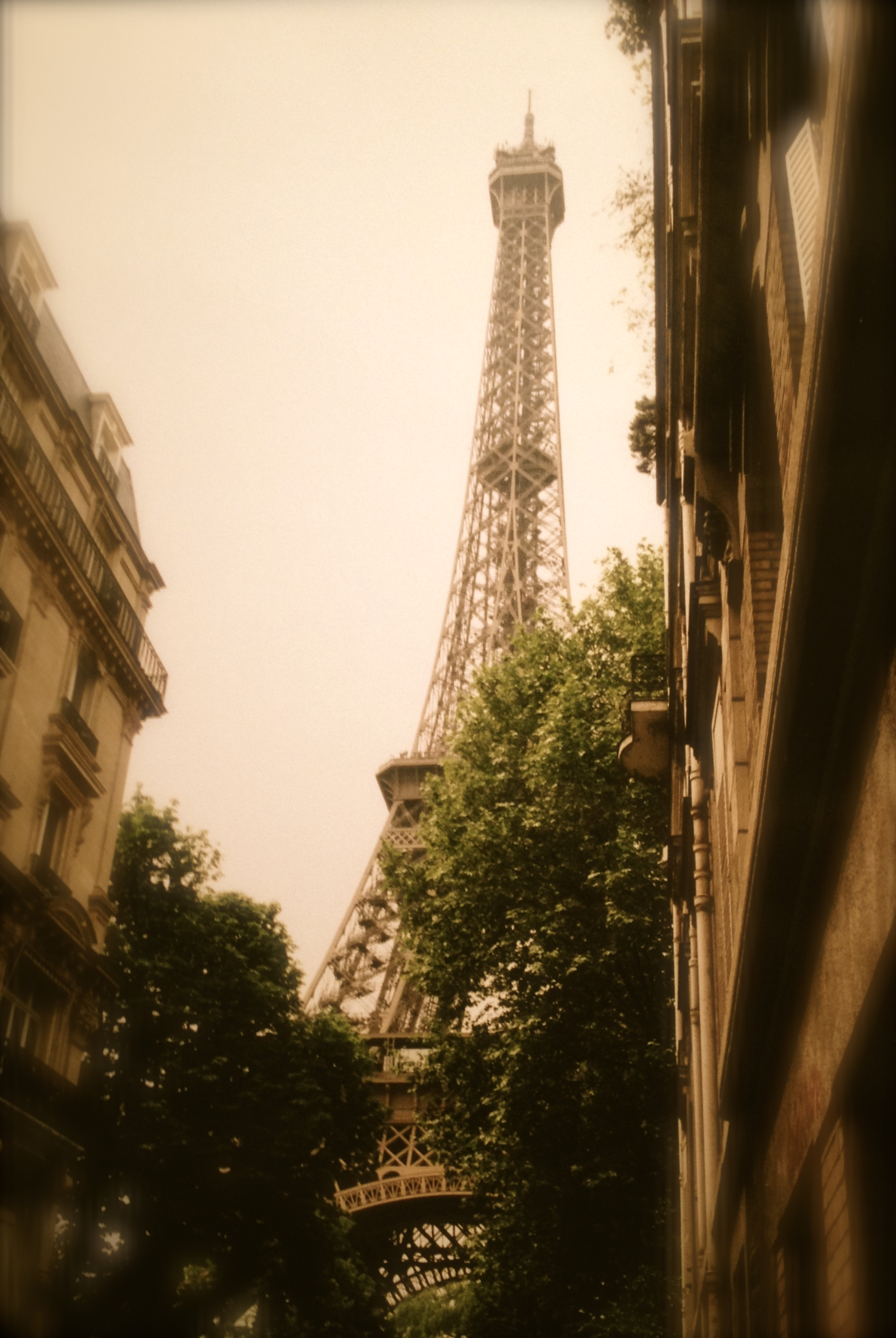 Our view of the eiffel tower right around the corner from where we stayed at the Hotel Amelie.
