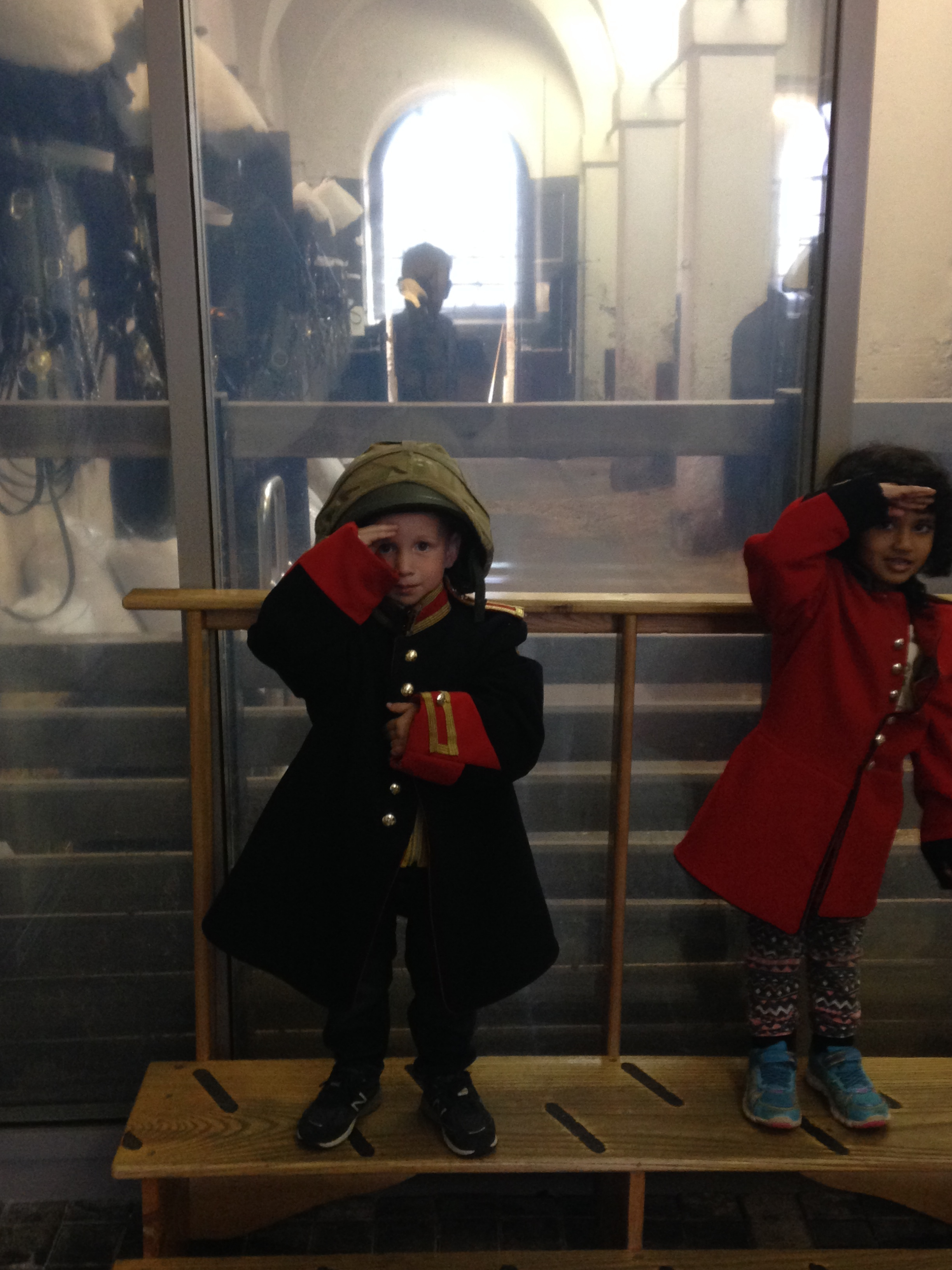 Playing dress up at the Household Cavalry Museum
