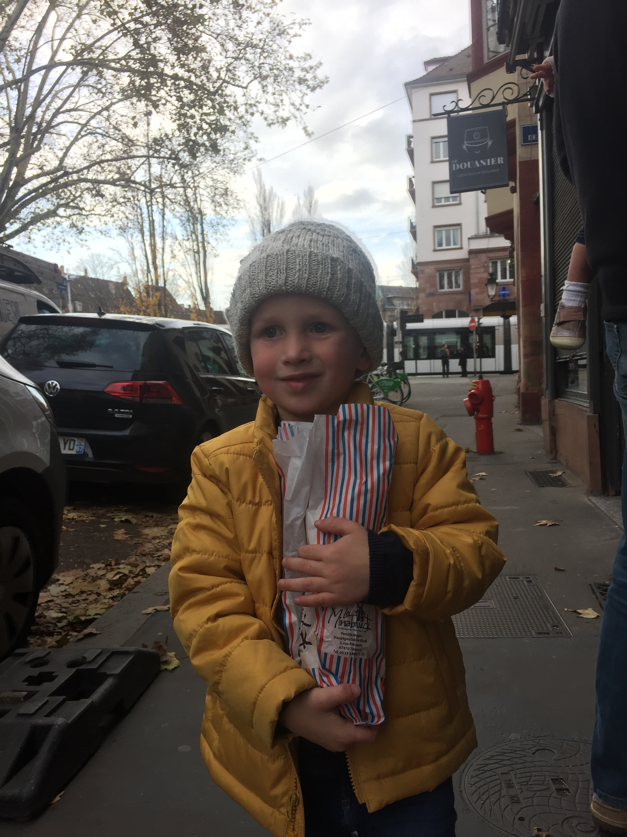 Henry and his bakery purchase. Oh, how much bread we ate.