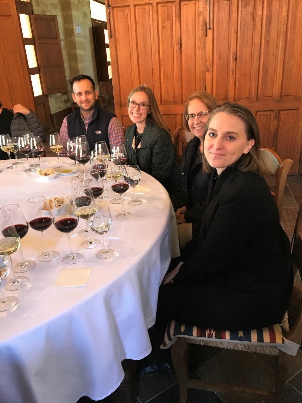 After all that talk of the scenery, I have no pictures of Luis Perez, except this one that shows the awesome wine spread and some great company.