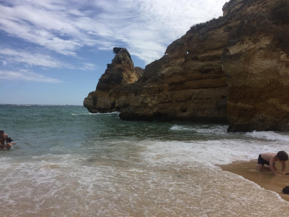 One of the many beautiful views from Praia do Camilo.