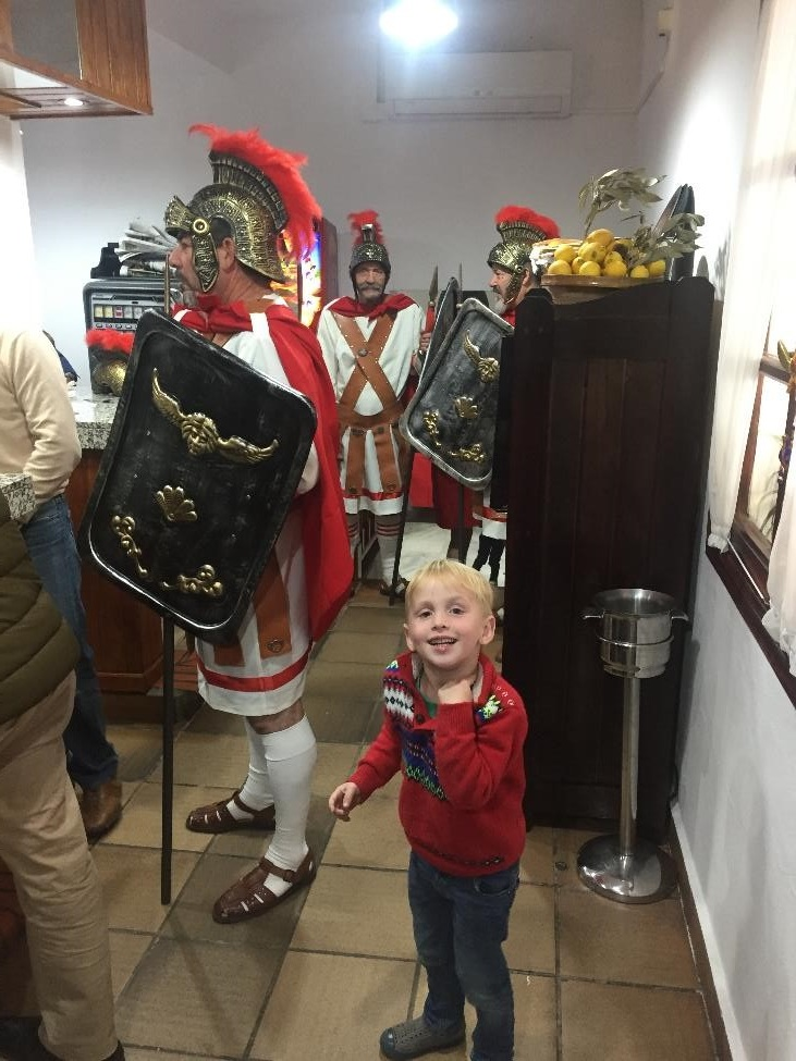 A band of Roman soldiers came to the restaurant where we were at, where they met their biggest fan.