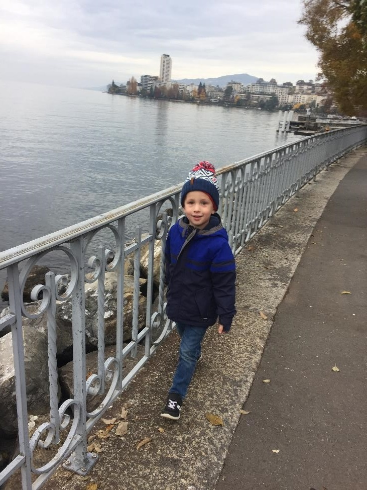 Our apartment was about half way between Montreaux, behind Henry, and the Chateau de Chillon.