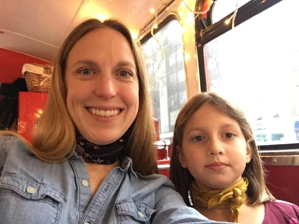 It was Charlotte's plan that we were matching neck scarves for tea. She really rocked it.