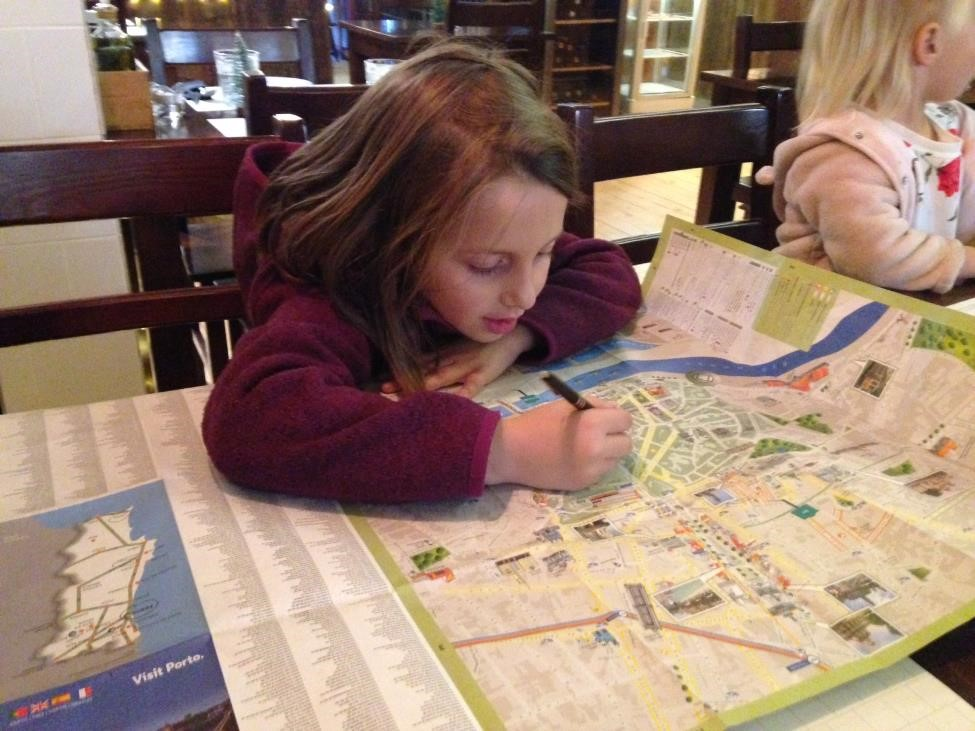 Charlotte channeled her Farm Papa to map out our walking tour, circling all of the buildings and monuments we had seen.