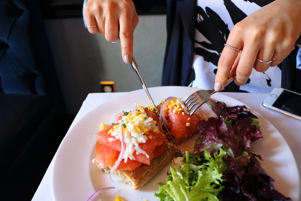 Tartine of Salmon ,  Smoked salmon, cream cheese, red onion, grated egg, baguette