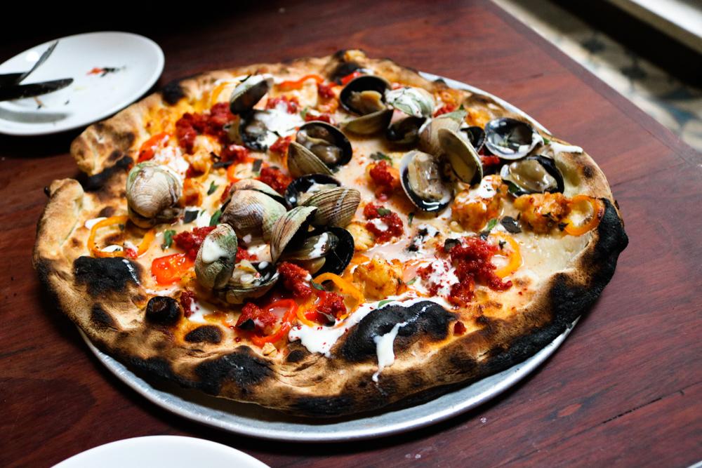 Vongole E Gamberi ,  Chorizo, Clams, Shrimp, peppers, garlic, oregano, crème fraiche
