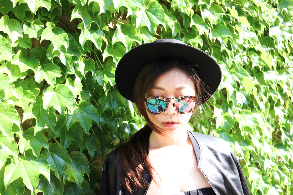 Wildfox Classic Fox Wayfarer Mirror Sunglasses ,  Urban Outfitters Flat-Top Boater Hat , Sandro Leather Jacket