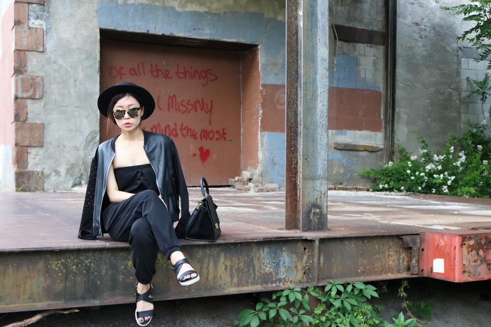 Wildfox Classic Fox Wayfarer Mirror Sunglasses ,  Urban Outfitters Flat-Top Boater Hat , Sandro Leather Jacket, Uniqlo Jumpsuit, Bamboo Sandal, Céline Bag