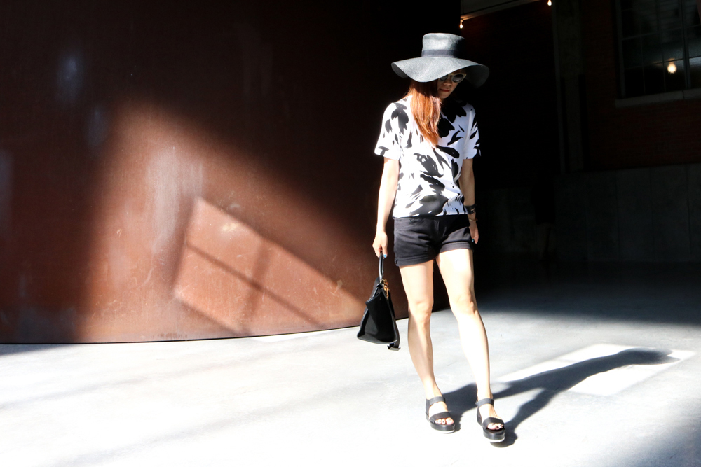 & Other Stories Hat ,  & Other Stories Sunglasses , Philosophy by Republic Dress (folded as top), H&M Shorts,  COS Sandals , Céline Bag