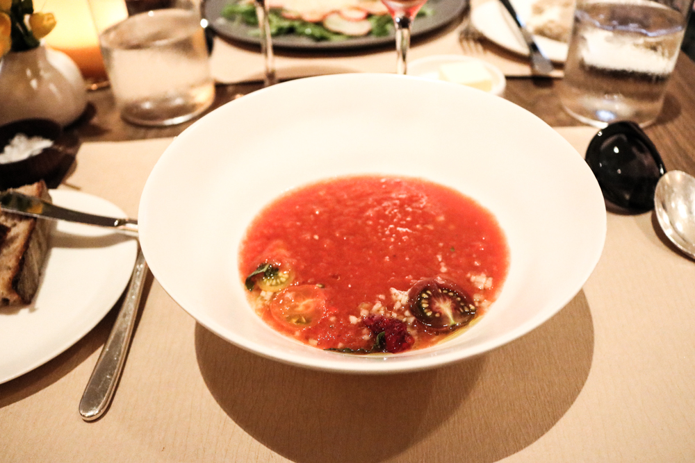 Tomato Gazpacho,  summer flavors and olive oil