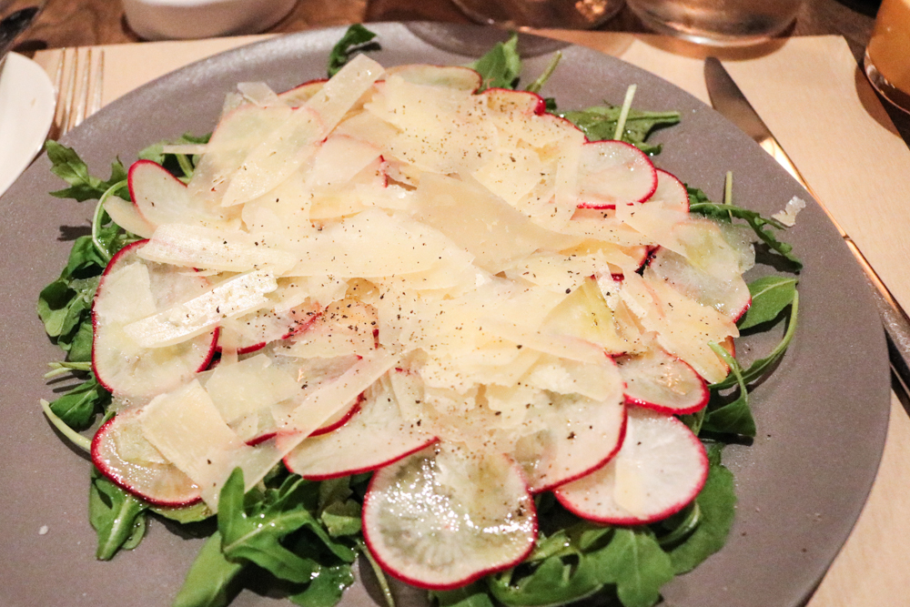 Arugula and Radish Salad,  shaved sheep's milk cheese