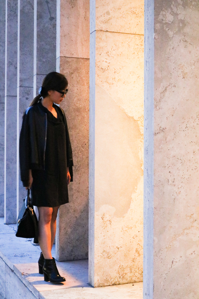 COS Draped-Neck Silk Dress, Sandro Leather Jacket, Via Spiga Nene Bootie, Céline Bag