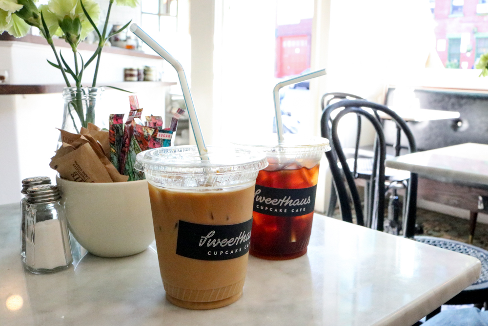 (on left) Iced Cortado, (on right) Cold Brew