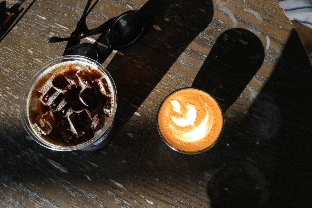 (on left) Cold Brew, (on right) Cortado at  Toby's Estate Coffee