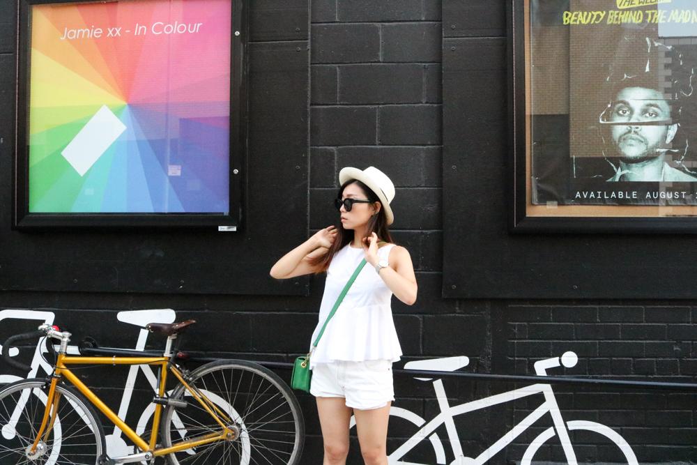 Muji Hat, Zara Top, Levis Shorts, J Crew Bag,  Cluse La Bohème Mesh Silver/White Watch
