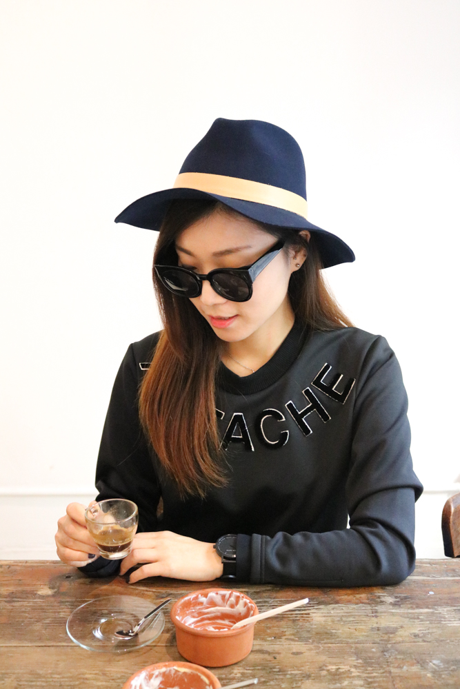Janessa Leone Hat ,  Surreal but Nice Sweatshirt ,  The Fifth Watches All Black