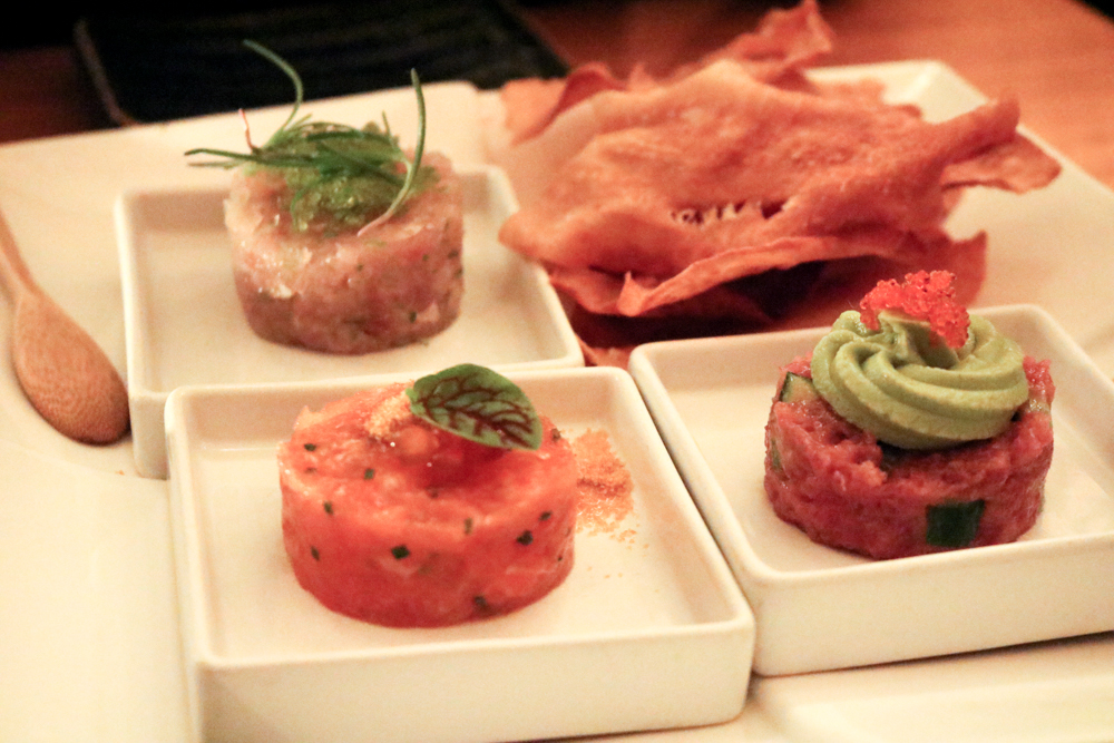 Trio of Tartares,  Blue Fin Tuna, Salmon and Yellowtail, Served with Sweet Potato Chips