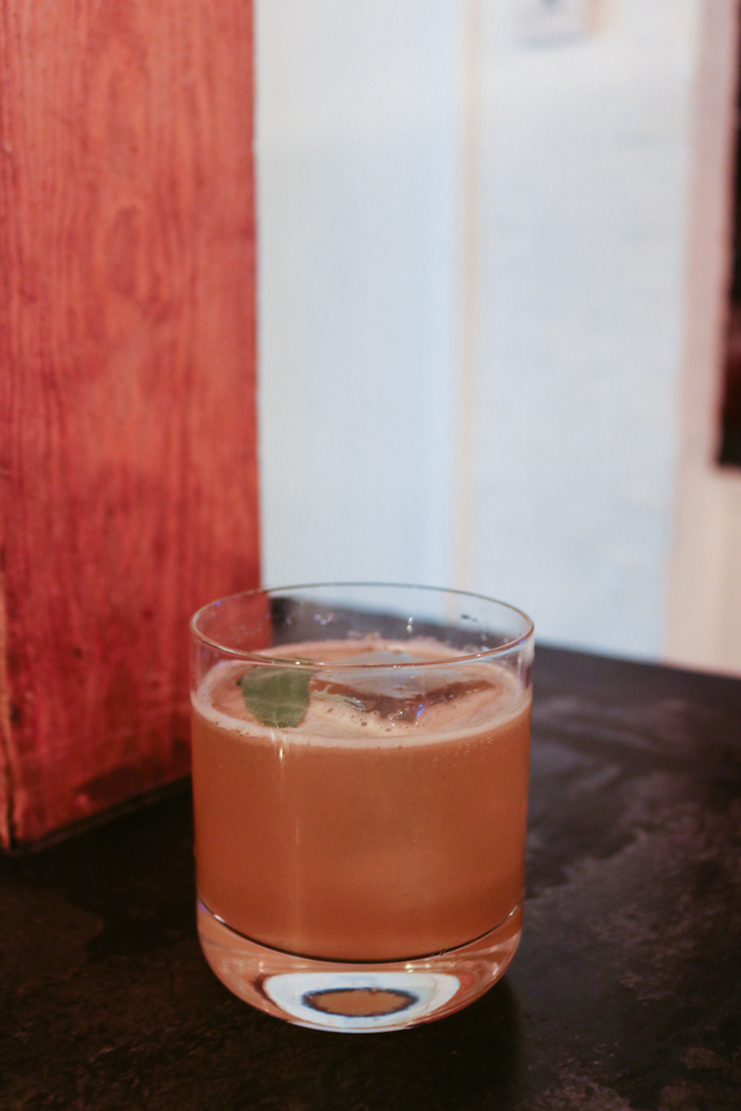 The Bee's Teas,  Chamomile Tea-Infused Bird Dog Bourbon, Figs, Lemon, Basil, Runny Honey, Chamomile Tincture