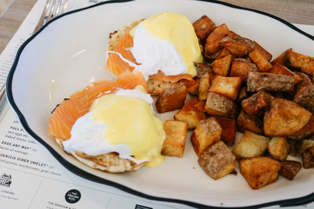 The Benedict,  locally smoked salmon   served with phoenician potatoes