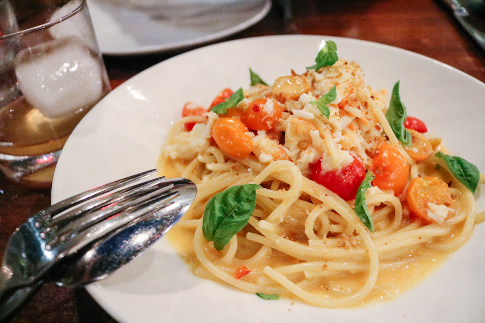 Spaghetti Rustichella,  live pacific dungeness crab, sugar snap peas, preserved lemon, mint