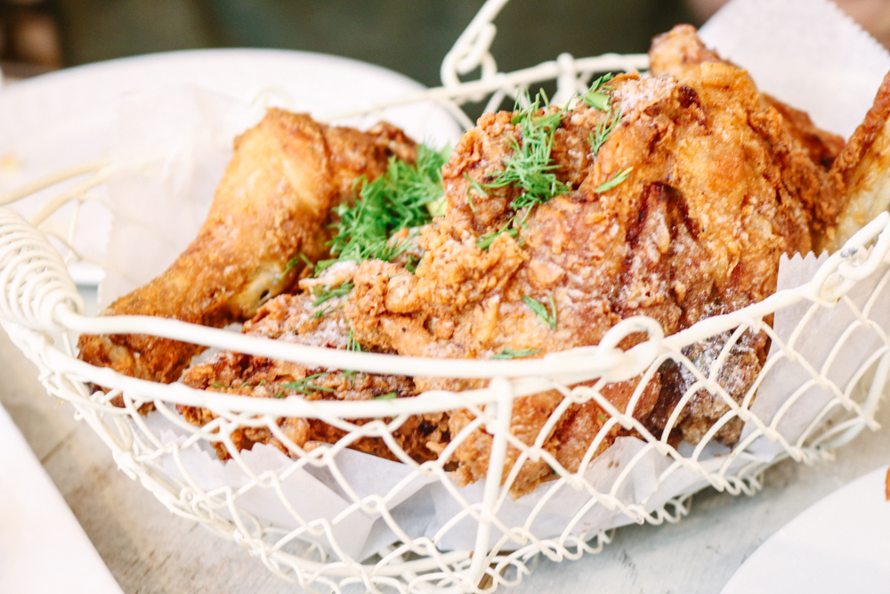 Crispy Free-Range Bucket of Bird,  sweet tea brined, lemon dusted, spiked tabasco honey