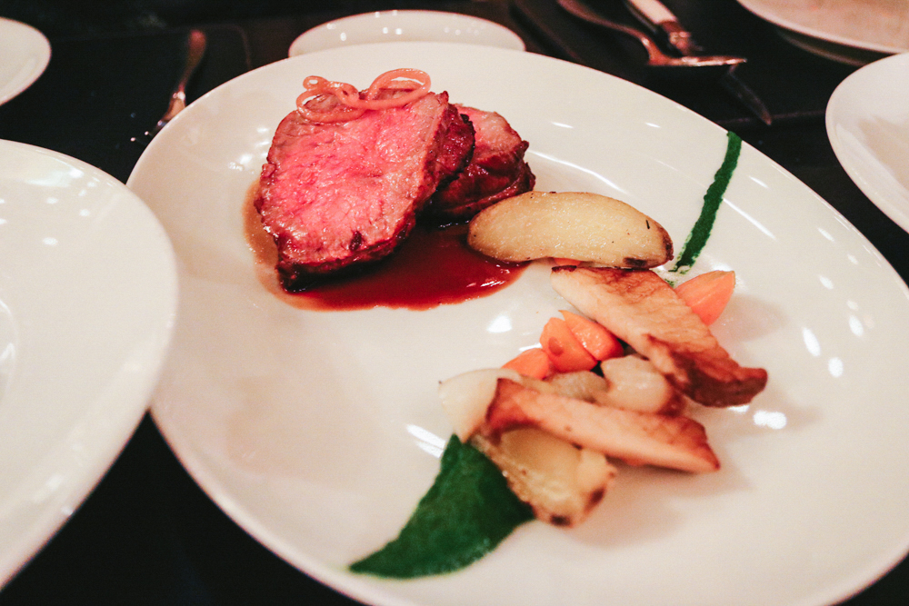 DRY-AGED SIRLOIN,  king trumpet mushroom, cipollini onion, fingerling potato & truffled spinach puree