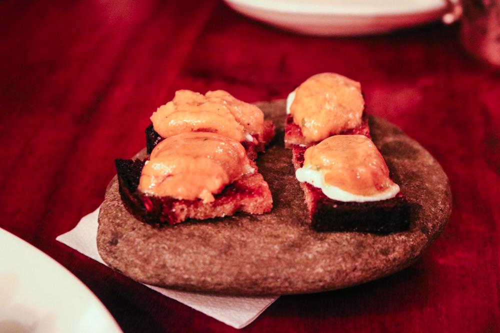 Uni Toast,  Whipped Ricotta, Shoyu Mignonette
