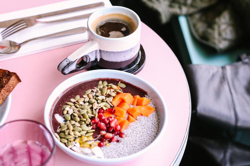 Acai Bowl,  passion fruit, papaya, seeds, coconut