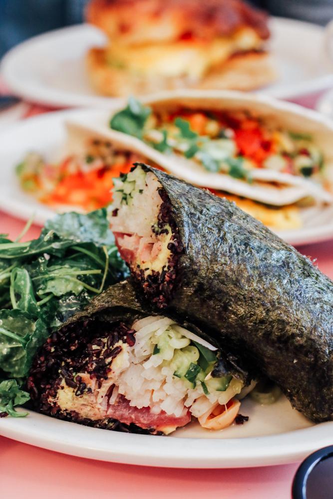 Tuna Nori Wrap,  black rice / avocado / chili cucumber / daikon wasabi creme fraiche / sesame