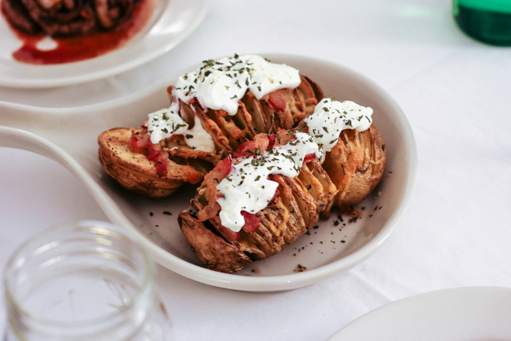 Bacon Hasselback Potatoes ( see here for easy recipe )