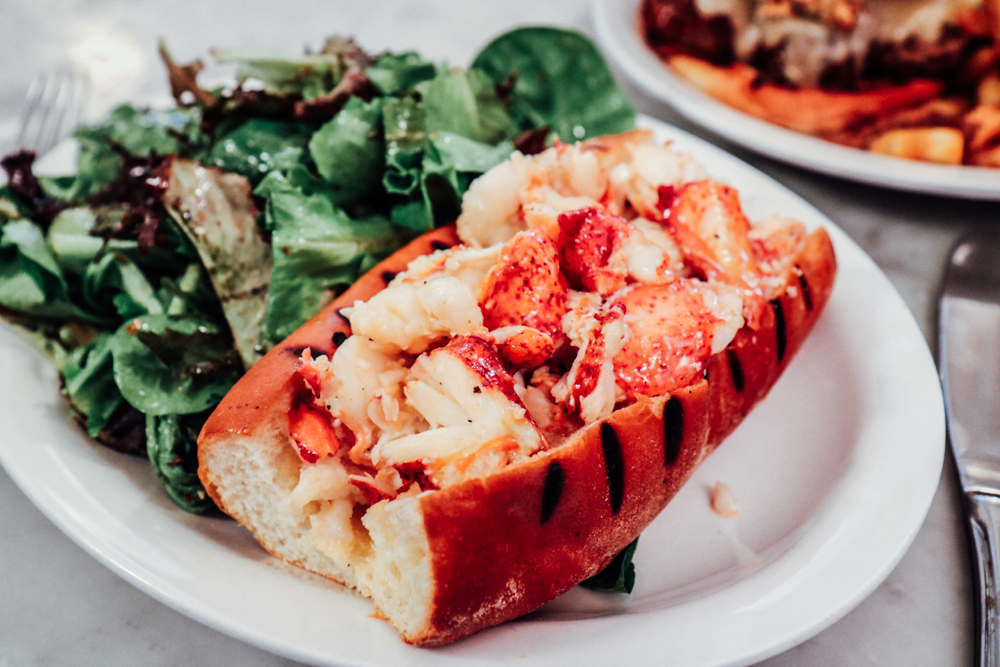 Maine Lobster Roll,  toasted roll, available hot with butter or cold with mayo