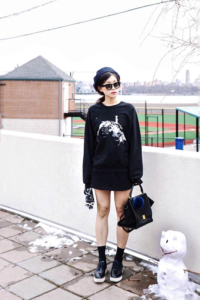 Zara Beret, Céline Sunglasses, Slow Factory Sweater, Urban Outfitters Skirt, Zara Shoes, Céline Bag, Adrienne landau Bunny Fur Pom Pom, Slow Factory Scarf