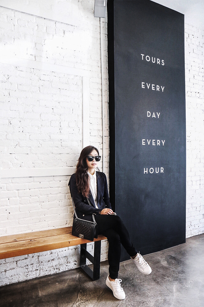The Row Sunglasses, Zara Blazer, Vintage Shirt, Paige Jeans, Chanel Bag, Adidas Original Sneakers